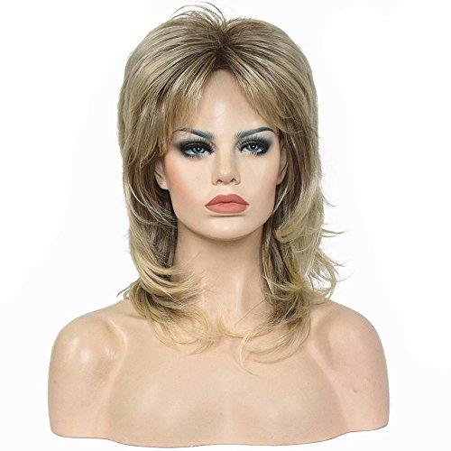 wigstyle Ash Blonde Medium Länge gerade Layered Hair Synthetik Full Perücke - Lange Gerade Layered Perücke