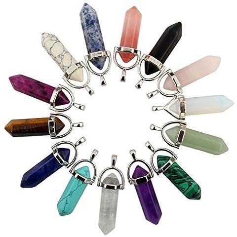 cmidy mutilcolor 14en forme de balle de guérison chakra pointu–Pendentif Mixte–Quartz en pierre de Cristal Charme Randow couleur pour la fabrication de collier