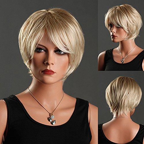 Wig Blond Kurz Haar Glatt Wigs Cosplay Haarteile Halloween Perücken Damen (Kurze Haare Perücken Für Halloween)