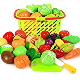 PLUSPOINT Realistic Sliceable Cut Fruits and Vegetable with Basket (18pc New Basket)