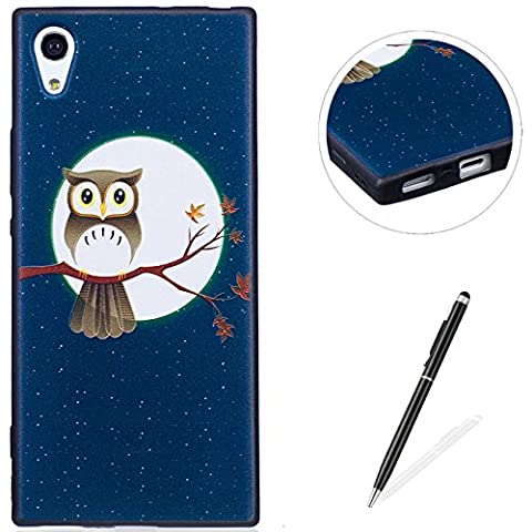 MAGQI SONY Xperia XA1 Case,Anti-Scratch Shock-Absorption Shockproof Durable Gel TPU Cover,Cute Panda Owl Animal 3D Cartoon Pattern Design For SONY Xperia XA1 Rubber Bumper Shell [with Black Stylus Pen],Premium Silicone Skin Drop Protection Case For SONY Xperia XA1 - Owl Moon and Tree