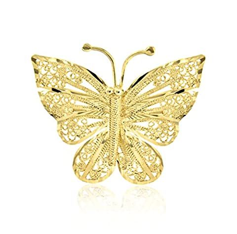 Carissima Gold 9 ct Yellow Gold Filigree Butterfly Brooch