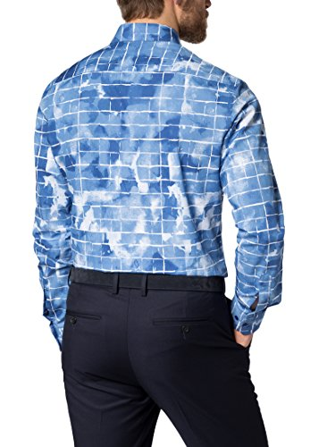 Eterna long sleeve Shirt MODERN FIT Poplin printed Blu/Bianco