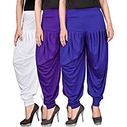 Dhoti pants for womens (Culture the Dignity Womens Lycra Dhoti CTD_00WVB1_1_WHITE_VIOLET_BLUE_FREESIZE)