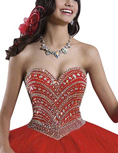 HUINI Cristallo Perline Sfera Degli Abiti di Quinceanera Sweetheart Prom Sweet 16 Abiti Fucsia