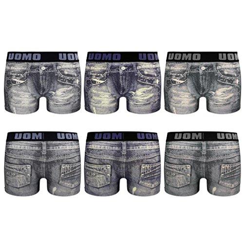 Herren Boxershorts Jeans Look Retroshorts aus Baumwolle 6er Pack Mehrfarbig