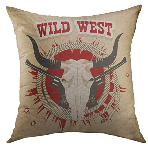 (nnmaw Pillow Cover Brown Cowboy Buffalo Skull Western Wild West Text on Old Vintage Red American Black Home Decorative Square Throw Pillow Cushion Cover 18x18 Inch Pillowcase)