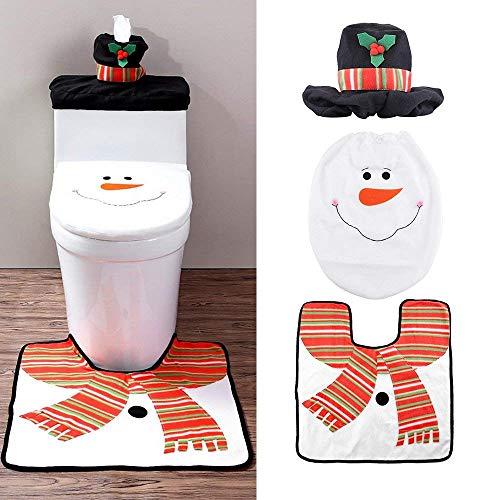 Zogin insieme di 3 decorazioni natalizie pupazzo di neve in tessuto per arredare il wc tappeto portarotolo copri cassetta copritavoletta