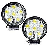 215W LED KFZ Arbeitsleuchte  rund licht Auto Scheinwerfer Offroad/LKW/Boot fahren Licht Wasserdicht Nebel Beleuchtung schwarz Spot-Licht Flutlicht (Größe: 128* 110* 45mm)