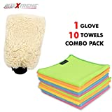 #6: AllExtreme Microfiber Car Washing Mitt Dusting Cleaning Glove with Towels Super Absorbent Dust Cloth Combo Pack Scratch-Less and Lint-Free Reusable Duster for Wet Or Dry Applications (10 Towels & 1 Glove combo pack)
