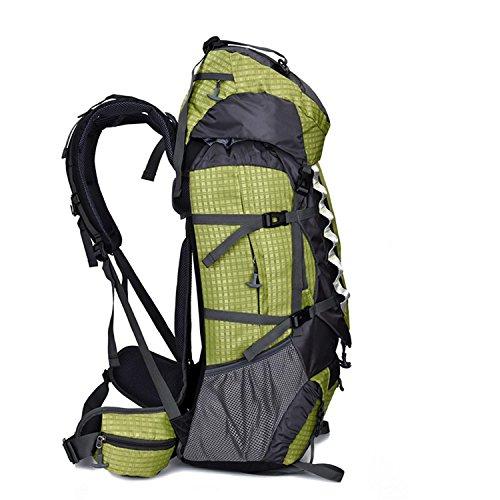 HWJF Wasserdichte Großraum-Outdoor-Wandertour Bergsteigen Tasche Sport Schultern Freizeit Rucksack Green