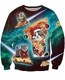 Idgreatim Hommes Ugly Sweatshirts Bikini Dace Pizza Cat Chandail Tricoté à Manches Longues pour Noël Rouge XL