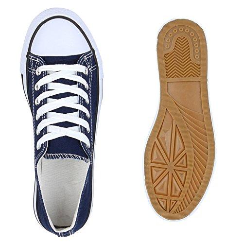 Damen Sneakers Low-Top Basic Turnschuhe Freizeit Schuhe Dunkelblau
