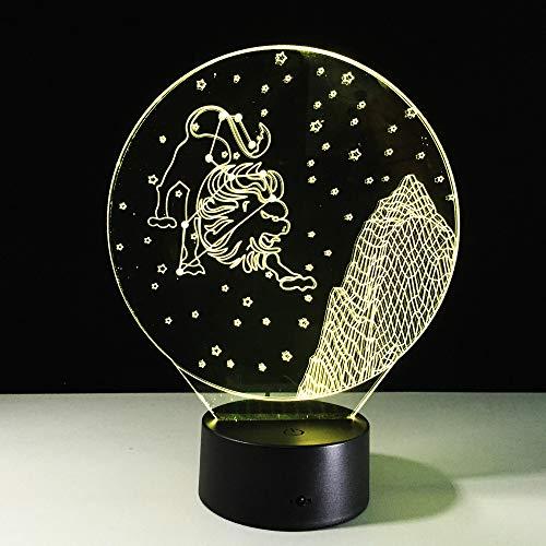 WEREWTR 3D Night Lights Leo Constellation 3D Night Light Touch Bunte 3D-Licht Usb Led Desktop Tischlampe als Geburtstag Gif