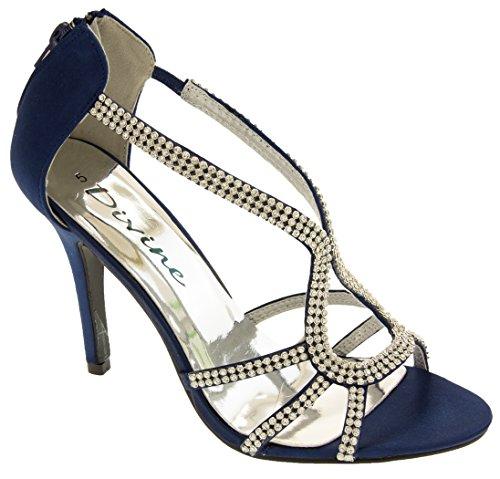 Divine Donna Raso di Diamante Scarpe Tacchi Alti Blu marino