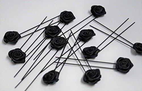 12x Haarschmuck Rosen schwarz Braut