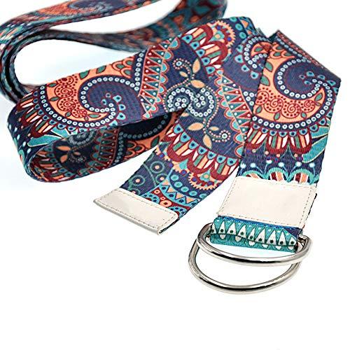 Sosila Yogagurt, Yoga Gurt aus Baumwolle, mit D-Ringen, Metallringe Stabiler Verschluss, für bessere Dehnung…