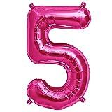 ballonfritz® Ballon Zahl 5 in Pink - XXL 40