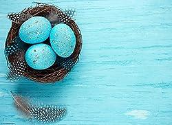 """Tischsets I Platzsets - Ostern - """"Schönes Osterarrangement mit blau gefärbten Eiern und Federn"""" - 12 Stück in hochwertiger Aufbewahrungsmappe"""
