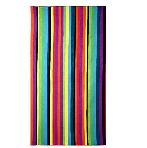 PING Strandtücher Groß Rainbow Streifen 100 x 180 cm Microfaser Badetuch für Erwachsene Damen Kinder Mädchen Ideal für Schwimmen Spa Reisen Yoga Sport Camping Sunbed Cover Bad oder Dusche zu Hause