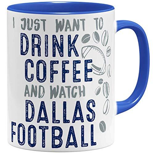 OM3® - Dallas-Coffee - Tasse | Keramik Becher | American Football Mug | 11oz 325ml | Beidseitig Bedruckt | Royalblau (Dallas Cowboys Keramik)