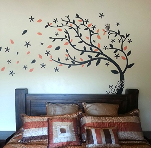 Bedroom decor must have - Elegant Tree (Black and Sunflower Yellow) - Beautiful Tree Wall Decals for Kids Rooms Teen Girls Boys Wallpaper Murals Sticker Wall Stickers Nursery Decor Nursery Decals