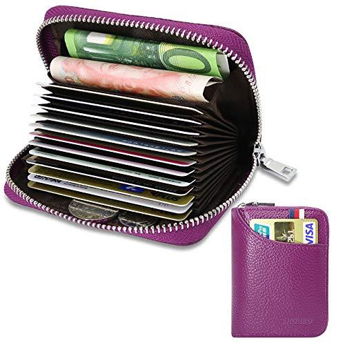 Tarjetero para Tarjetas de Crédito para Hombre Mujer RFID Titular de la Tarjeta de Crédito de Cuero con 13 Ranuras para Tarjetas y 2 Ranuras de Moneda Carteras Monederos con Cremallera (Púrpura)