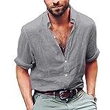 Casual Größe für Herren Freizeithemd Weich Atmungsaktive Bluse Soft Langarm Top Plain Stehkragen Business Shirt M-4XL