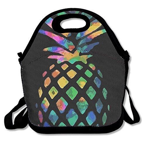 Colorful Ananas Personalisierte Isolierte Lunchtasche Lunch Tote Neopren Gourmet Kühler Warm Picknick Tasche für Schule Arbeit Büro Einheitsgröße schwarz
