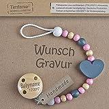 Timfanie Schnullerkette mit Gravur für Mädchen | graphit-rosa (Auslaufmodell)