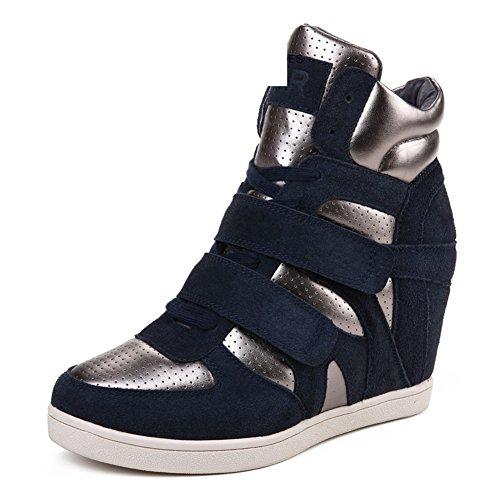 Version coréenne dans les chaussures de haute de printemps/Sports et loisirs Chaussures femmes/Fond plat en cuir augmenté chaussures stealth B