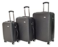 Set of 3 Hard Shell Suitcases 4 Wheel Travel Luggage Lightweight Cabin Bags H007 Black
