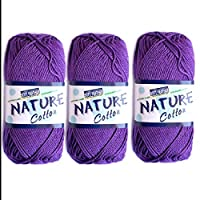 3X Nature Cotton Purple Colour No.513 Crochet and Knitting Yarn
