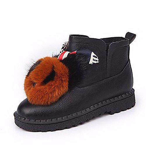 Zhudj Femmes Chaussures Automne Bottes De Neige Talon Bas Round Toe-pom Bottes Pour Casual Vert Blanc Brun Brun