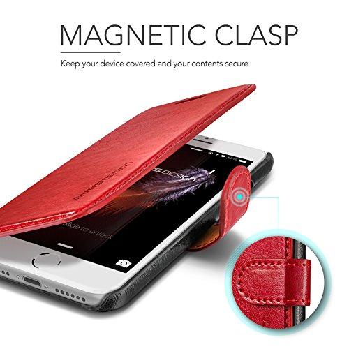 iPhone 8 Hülle, iPhone 7 Hülle, VRS Design® Leder Schutzhülle [Braun] Schlanke Prämie PU Leder Tasche Stoßsichere Lederhülle Brieftasche Case mit 3 Kartenfach [Layered Dandy] für Apple iPhone 7 (2016) Rot