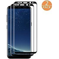 Verre Trempé Sansung Galaxy S8 noir ( Lot de 2 ) Oriental-X, Couverture complète Protecteur d'écran en Verre Trempé, Anti-rayure, Anti-traces de doigts, Sans Bulles, Haute transparence
