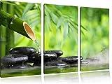 Bambusbrunnen mit Steinen 3-Teiler Leinwandbild 120x80 Bild auf Leinwand, XXL riesige Bilder fertig gerahmt mit Keilrahmen, Kunstdruck auf Wandbild mit Rahmen, gänstiger als Gemälde oder Ölbild, kein Poster oder Plakat