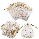 100x Bolsas de Organza con Cordón para la boda Favor Bolso Color blanco con corazones de amor bronceado - 10x11,5 cm