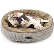 Pecute Cat Bed for Large Cats and Puppies Oval (55cm)- Machine Washable Plush Padded Soft Comfy (Beige)