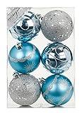 6 Stk. PVC Christbaumkugeln 8cm ( blau / hellblau /silber ) // Ornament Dekor Kunststoff bruchfest Dekokugeln Weihnachtskugeln Baumkugeln Baumschmuck Set Christbaumschmuck Weihnachtsschmuck 80mm