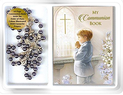 Boys-First-Holy-Communion-Hematite-Rosary-Beads-Catholic-Gifts-to-Celebrate-Communion-with-My-Prayer-Book-Lourdes-Prayer-Card