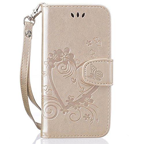 iPhone 7 4,7 Coque, Voguecase Étui en cuir synthétique chic avec fonction support pratique pour Apple iPhone 7 4,7 (Amour de papillon-Pink)de Gratuit stylet l'écran aléatoire universelle Amour de papillon-Or