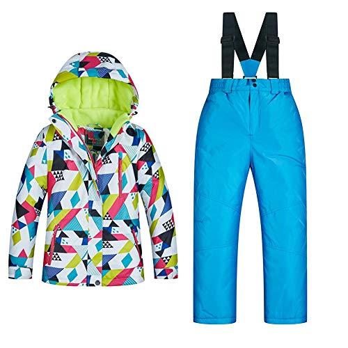 Sanmubo Wasserdichter Winddichter Mädchen Skianzug Schneeoverall mit Manschetten Baumwolle Kinder Skiset Jacke+Hosen Set, Blau Grün Pink, 8(120)-16(160)   00192995492158