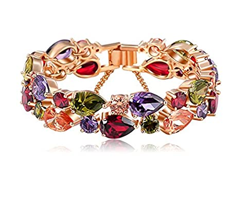 swarovski element 18ct real Gold Plated Luxury Eternal Bracelet for Women Quality gift (19 CM)