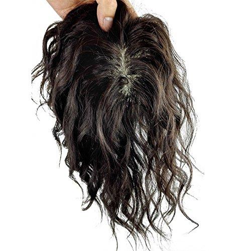 Remeehi 14x 15,2cm mono Base Realizzato a mano legato capelli umani capelli, capelli ricci naturale Top Piece