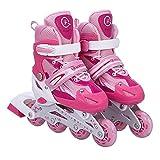 Inliner Inline-skates für Kinder - Größenverstellbar über vier Größen - mit Leuchtende Rollen - Pink - Gr. M (35-38)