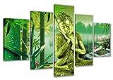 Visario Leinwandbilder 5521 Bild auf Leinwand Buddha 5-teilig, 160 x 80 cm