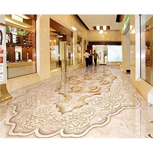 Rureng Benutzerdefinierte Pvc Bodenbelag 3D Selbstklebende Jade Marmor Boden Tapete 3D Boden Wohnzimmer Aufkleber Tapeten Wohnkultur-150X120Cm -