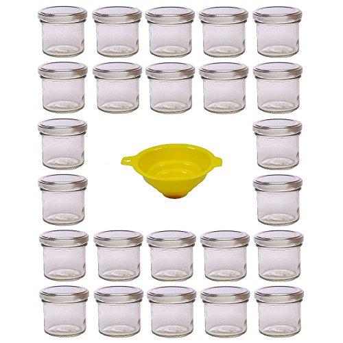 Viva Haushaltswaren - 24 x Marmeladenglas 125 ml mit silberfarbenem Verschluss, runde Sturzgläser als Einmachgläser, Gewürzgläser, Glasdosen etc. verwendbar (inkl. Trichter)