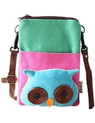 Cartoon Canvas Phone Bag Version coréenne de Lovely Girl Petit sac en tissu Green Owl